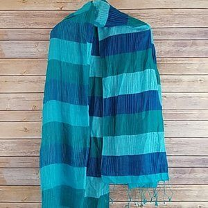 Large Blue Striped Beach Cover Up Scarf Wrap